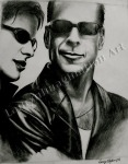 Bruce Willis Sunglasses Advertisement, graphite drawing by Lauryn Medeiros