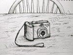 Camera, pen drawing by Lauryn Medeiros