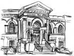 sketches by Lauryn Medeiros, buildings, Boise, Idaho, coasters, Carnegie Library