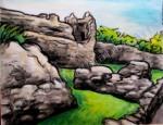 Uquart Castle in Scottish Highlands, chalk pastel by Lauryn Medeiros