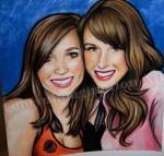 Cecilia and I, Glasgow Halloween, chalk pastel by Lauryn Medeiros