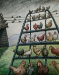colored pencil by Lauryn Medeiros, chickens, phobia, illustration