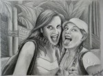 Corinne and Morgan at Indiana Jones Ride, Disneyland, graphite drawing by Lauryn Medeiros