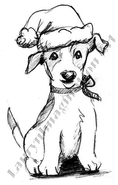 Doggie Holiday Greeting Card Design Pencil Graphite