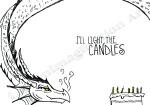 design by Lauryn Medeiros, design, dragon, birthday, card, illustration, candles