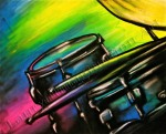 Abstract Drums, vivid colors, musical instrument series, chalk pastel by Lauryn Medeiros