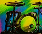 Abstract Drumset, vivid colors, musical instrument series, chalk pastel by Lauryn Medeiros