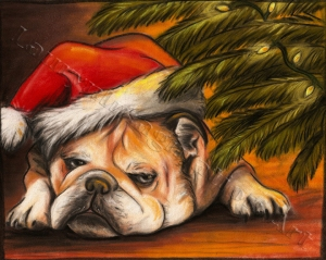 illustration by Lauryn Medeiros, chalk pastel, bulldog, frank, Christmas, Christmas tree, Santa hat, tired, old, lights