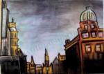 Buildings in Glasgow, Scotland, chalk pastel by Lauryn Medeiros