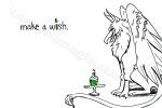 design by Lauryn Medeiros, design, gryphon, birthday, card, illustration, candle, make a wish