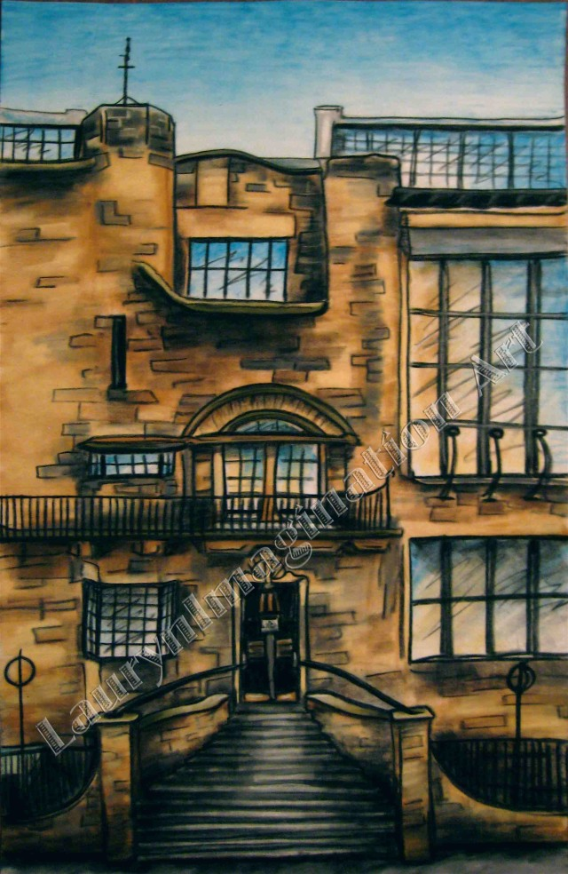 Glasgow School of Art Mackintosh Building, Scotland, chalk pastel by Lauryn Medeiros