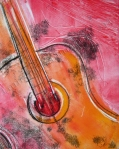 printmkaing, monoprint by Lauryn Medeiros, abstract guitar, vivid colors