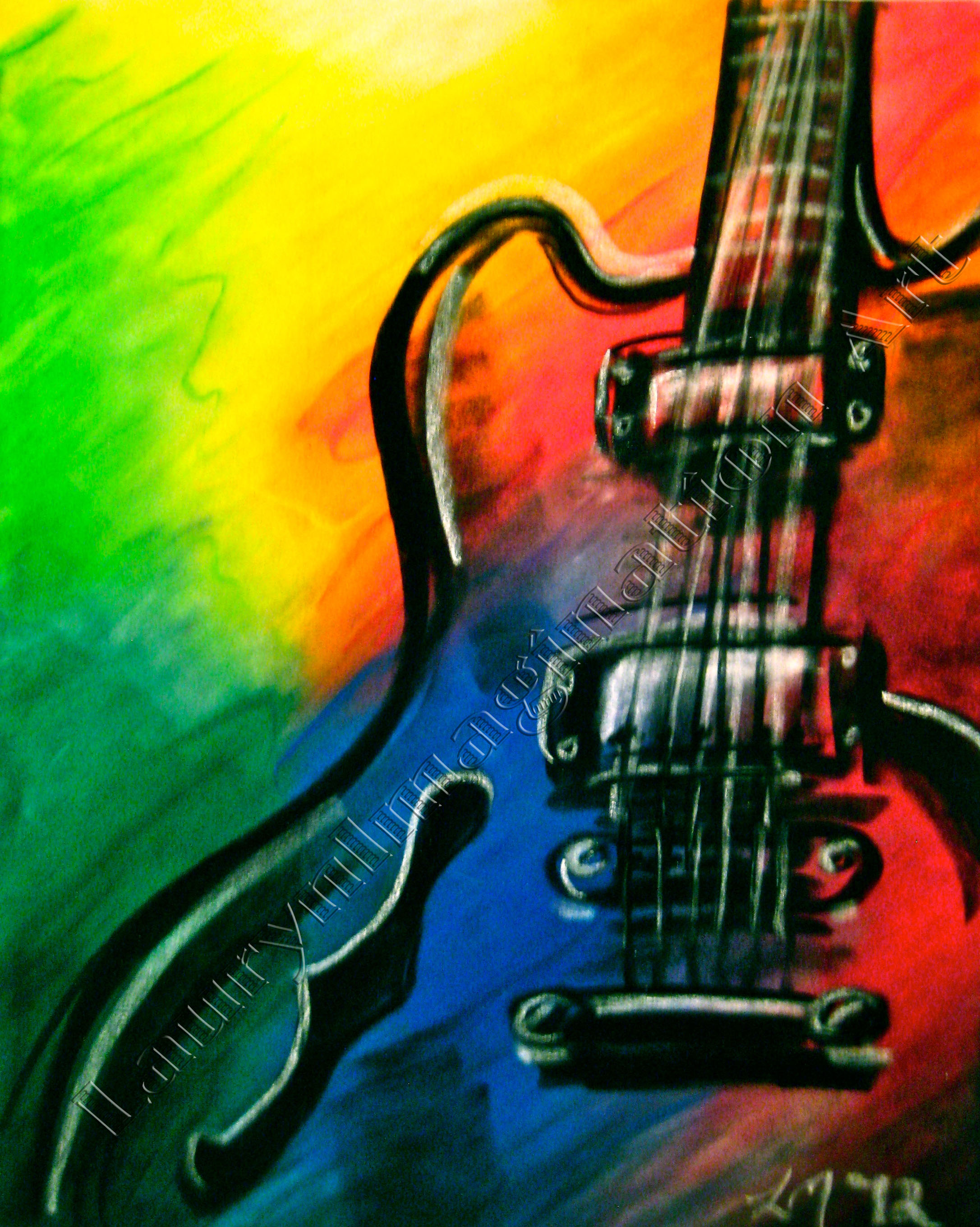 Abstract guitar vibrant colors chalk pastel by lauryn medeiros