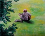 Guitarist in Kelvingrove Park, Glasgow, Scotland, chalk pastel by Lauryn Medeiros