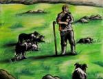 Scottish sheep herder holding puppy, chalk pastel by Lauryn Medeiros