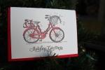 drawing by Lauryn Medeiros, holiday card, bike, letterpress, Angela R. Stewart, Ladybug Press