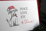doggie holiday card, drawing by Lauryn Medeiros, santa hat, Angela R. Stewart