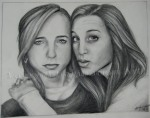 Lindsey and Corinne, graphite drawing by Lauryn Medeiros
