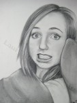 Lindsey at Christmas Time, graphite drawing by Lauryn Medeiros