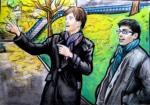 Matt the Tour Guide, Aberdeen, Scotland, chalk pastel by Lauryn Medeiros