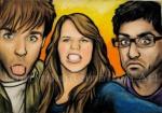Matt, Vikash and I, Aberdeen, Scotland, chalk pastel by Lauryn Medeiros