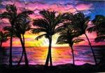 Maui Sunset, Hawaii, chalk pastel by Lauryn Medeiros