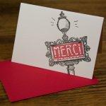 card design by Lauryn Medeiros, illustration, merci, Paris, ladybug press, Angela R Stewart Design