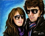Mike and I, too cool, chalk pastel by Lauryn Medeiros