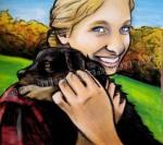 Mollye with puppy, Scottish Highlands, chalk pastel by Lauryn Medeiros