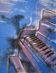 printmaking, monoprint by Lauryn Medeiros, abstract piano, vivid colors