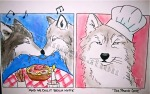 The Proud Chef, Wolves with Human Food, Comic Strip, pen and chalk pastel by Lauryn Medeiros