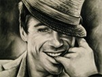 Classic Robert Downey Jr., black and white drawing, Chalk pastel by Lauryn Medeiros
