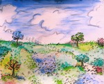 Landscape inspired by Raoul Dufy, painting by Lauryn Medeiros