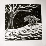 relief print by Lauryn Medeiros, printmaking, black and white, white wolf, tree, snow