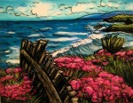 Sea Ranch with Pink Flowers, California, chalk pastel by Lauryn Medeiros