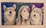 Self Portrait Among Wolves, graphite by Lauryn Medeiros