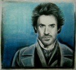 Sherlock Holmes, Robert Downey Jr., graphite with chalk pastel by Lauryn Medeiros