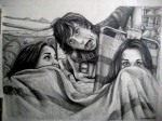 Shiva, Tim and I, Santa Cruz Beach, graphite drawing by Lauryn Medeiros