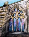 Stained Glass Arch Window, Aberdeen University, Scotland, chalk pastel by Lauryn Medeiros