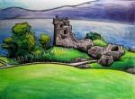 Uquart Castle, Loch Ness, Scotland, chalk pastel by Lauryn Medeiros