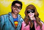 Vikash and I, Glasgow Halloween, chalk pastel by Lauryn Medeiros