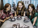 Willow Tea Rooms, Glasgow, Cecilia, Mollye and I, chalk pastel by Lauryn Medeiros