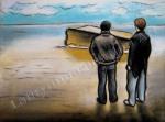 WWII bunker at Aberdeen Beach, chalk pastel by Lauryn Medeiros