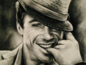 Classic Robert Downey Jr., Celebrity portrait, black and white, chalk pastel by Lauryn Medeiros
