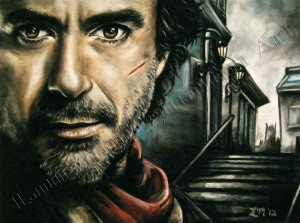 Sherlock Holmes 2, Game of Shadows, Movie Poster, drawing, Robert Downey Jr., chalk pastel by Lauryn Medeiros