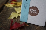 Angela R. Stewart Design, Inc. Coaster, brown, beer, fall leaves, photography by Lauryn Medeiros