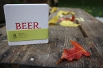 Angela R. Stewart Design, Inc. Coaster, red, beer, fall leaves, photography by Lauryn Medeiros